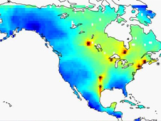 Two-dimensional map of the location of carbon dioxide gas in North America, as averaged over the course of a month