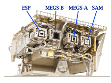 EVE with its sensors labeled: MEGS-A and -B, ESP, and SAMS.