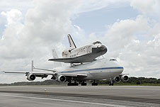 The Shuttle Carrier Aircraft and Discovery.