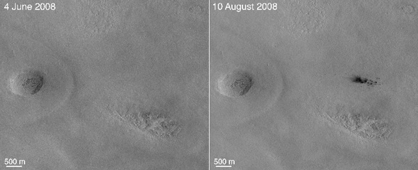 New crater forming on Mars