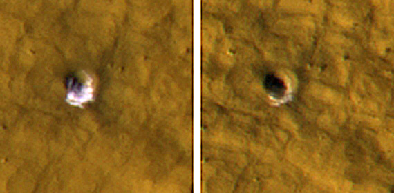 Underground Ice on Mars Exposed by Impact Cratering