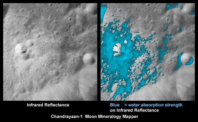 Agua alrededor de un crater reciente, en imágenes infrarrojas obtenidas por el instrumento Moon Mineralogy Mapper de la NASA a bordo de la sonda Chandrayaan 1 de la agencia espacial india ISRO. Credits: ISRO/NASA/JPL-Caltech/USGS/Brown Univ.
