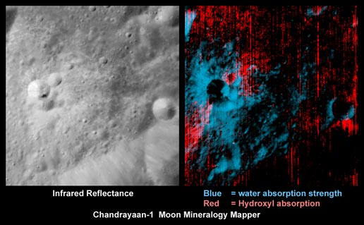 Rays of water and hydroxyl identified in a lunar crater