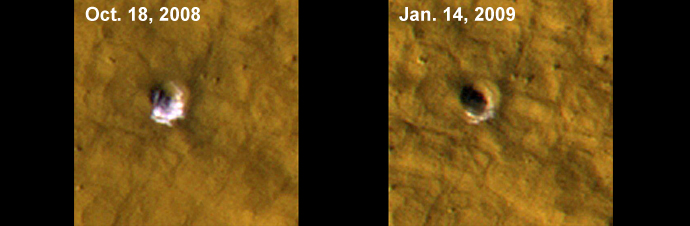 The High Resolution Imaging Science Experiment camera on NASA's Mars Reconnaissance Orbiter took these images of a fresh, 6-meter-wide (20-foot-wide) crater on Mars on Oct. 18, 2008, (left) and on Jan. 14, 2009