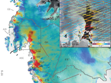 Satellite data showing ice thinning in Antarctica