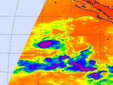 AIRS captured an infrared image of Tropical Storm Nora's cold clouds (purple).