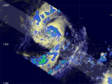 Nora was showing some areas of moderate rainfallwhen the TRMM satellite passed overhead on September 23, 2009.