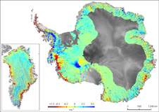 ICESat data on thinning ice in Greenland and Antarctica