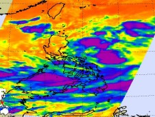 NASA's Aqua satellite AIRS instrument captured 17W just east of the northern Philippines, poised for landfall.