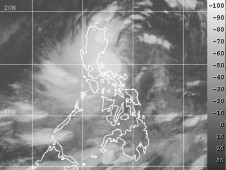 The MTSAT satellite shows the center of circulation just to the east of the northern Philippines.