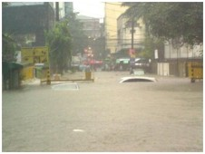 Flooding in the Little Baguio area of San Juan City, the Philippines. That city is located east of Manila and south of Quezon City.