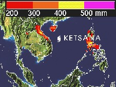 TRMM rainfall indicated that between 200-600 millimeters (mm) of rain have fallen in the northern Philippines.