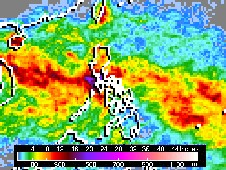 This rainfall map was created by NASA's TRMM satellite shows rainfall accumulation from September 21-28, 2009.