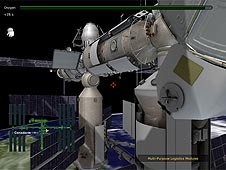 Screenshot showing the exterior of the station and a green picture (mini-map) showing the player's location
