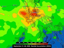 TRMM image of Ketsana rainfall over Manilla