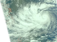 Typhoon Parma with a very organized cloud structure, indicating strengthening.