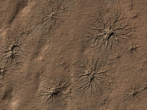 Spider-shaped features on Mars, carved by vaporizing dry ice.