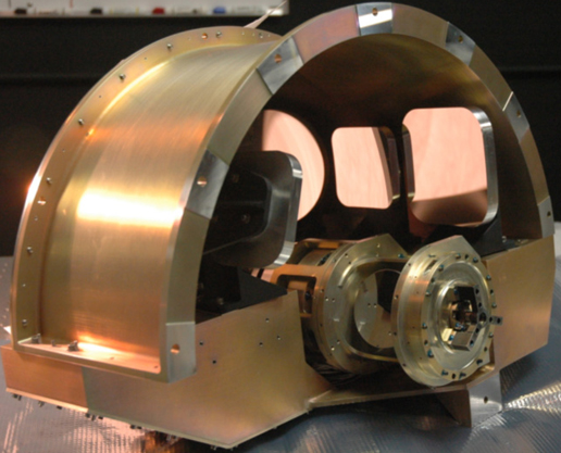 The imager optics are mounted at the back of the optical system.