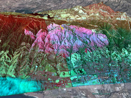 The Autonomous Modular Scanner carried aboard NASA's Ikhana unmanned aircraft captured this image of the Gap Fire in Santa Barbara County, Calif., on July, 8 2008.
