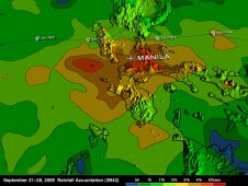 3-D topographic rainfall map of Ketsana's flooding rains received in the Philippines.
