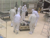 SDO Engineers work in a Goddard clean room