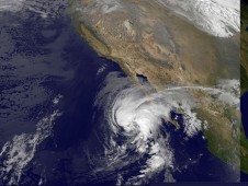 Tropical Storm Olaf's clouds reaching over the southern tip of Baja California in the Eastern Pacific Ocean.