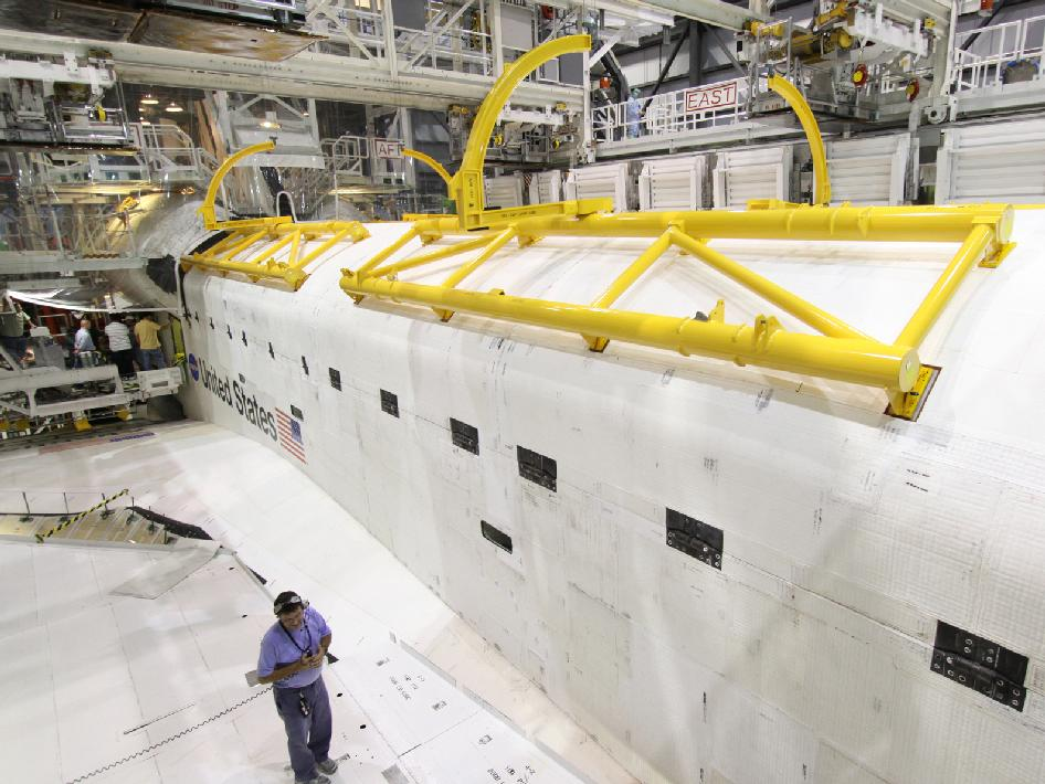 Space shuttle Atlantis' payload bay doors are being closed