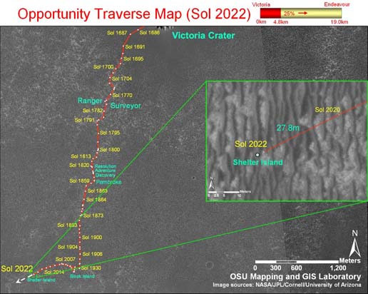 Opportunity's traverse map through Sol 2022