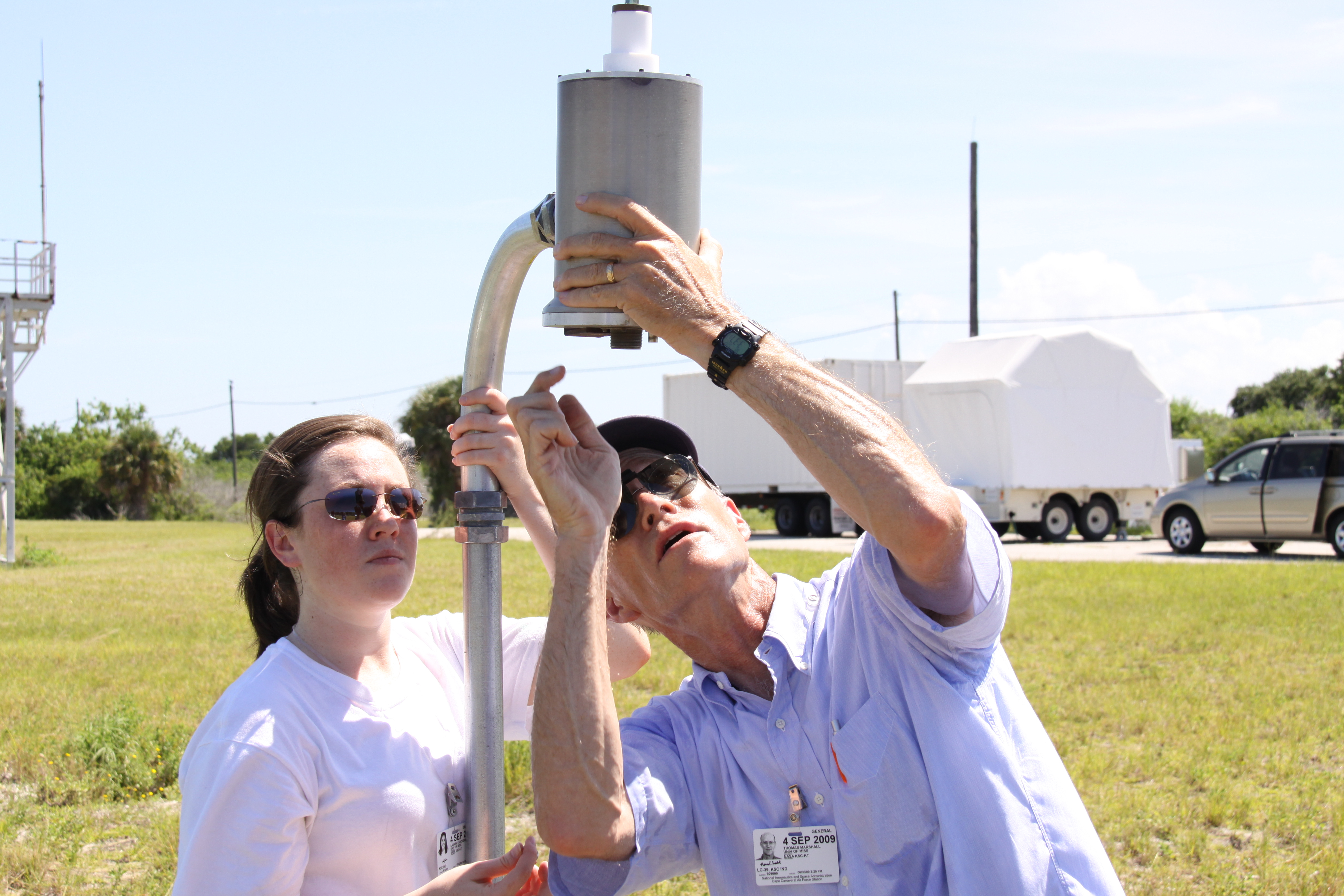 University of Mississippi Professor Tom Marshall and student Lauren Vickers, say they hope their lightning tests using a newly designed antenna can produce results NASA can use for future launches