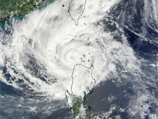 Terra satellite's MODIS image of Typhoon Parma (19W) re-approaching the Philippine Islands