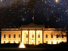 White House with stars in the sky