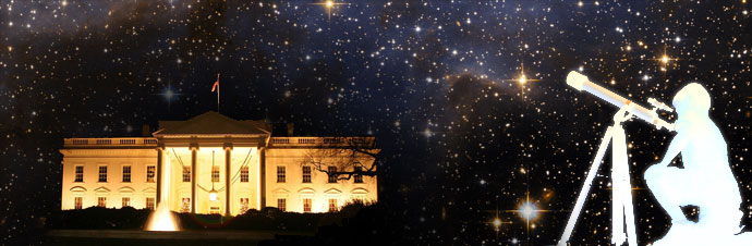 White House with stars in the sky with kids looking through a telescope.