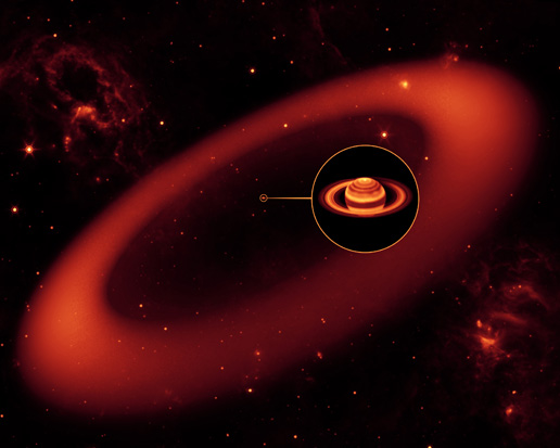 This artist's conception simulates an infrared view of a nearly invisible ring around Saturn spotted by NASA's Spitzer Space Telescope