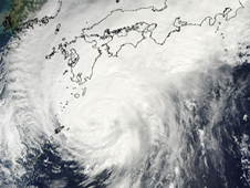 MODIS image of Typhoon Melor as it was approaching Japan (outline of Japan at top of image) on October 6