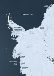 Glaciers and ice shelves along the coast of west Antarctica and the Antarctic Peninsula that are susceptible to rapid changes are key targets during Operation Ice Bridge. Credit: NASA