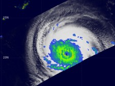 Melor had a nearly complete inner eyewall, surrounded by a nearly complete outer eyewall of moderate rain.