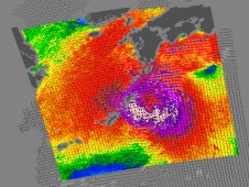 Typhoon Melor had winds between 104 and 98 mph. The strongest winds are pink and purple.
