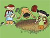 Three cartoon characters dig in the dirt