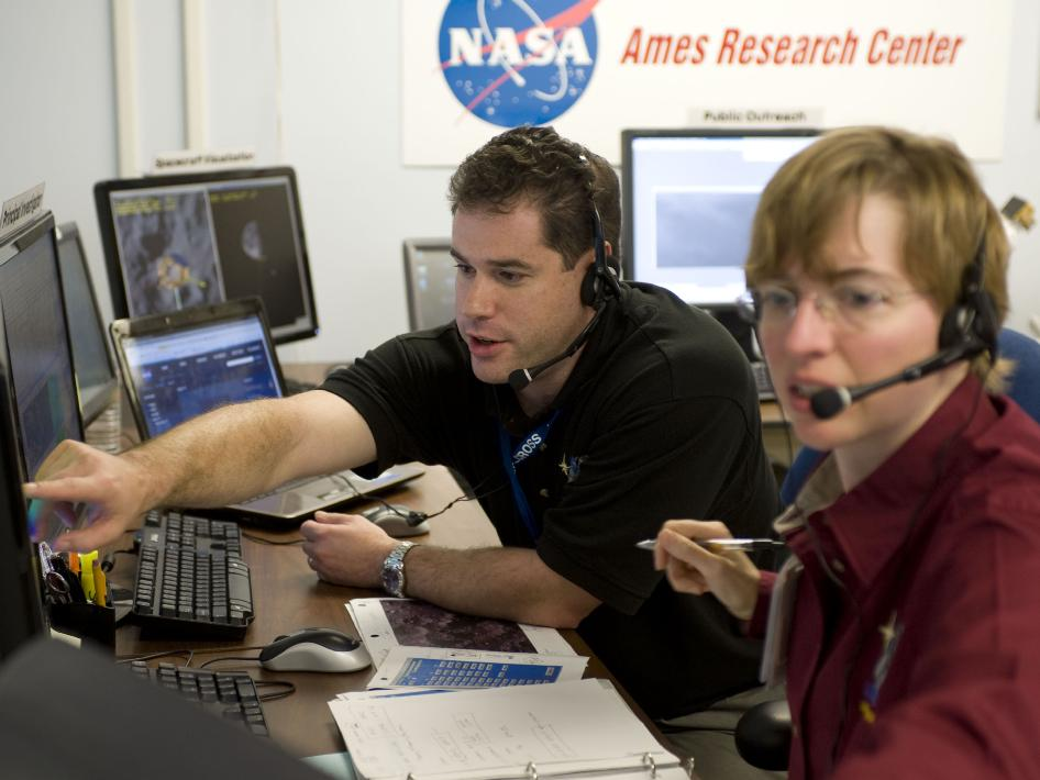 LCROSS project scientists Anthony Colaprete and Dr. Kim Ennico review early results from the centaur and spacecraft impacts.