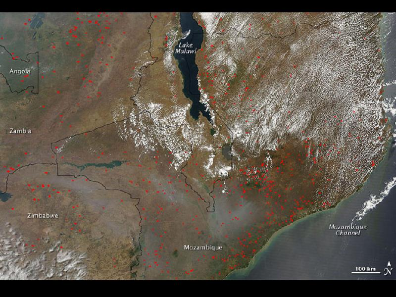 Number 10 slide in series of world fires - NASA - eastern Africa's Lake Malawi (Lake Nyasa) on October 13, 2009