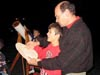 David Hurd and his son holding a tactile moon map and looking at the night sky