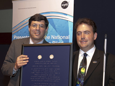 NASA Associate Administrator Chris Scolese, left, and Mark Riccobono, executive director of the Jernigan Institute of the National Federation of the Blind