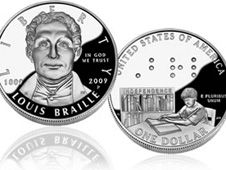 Louis Braille Bicentennial Silver Dollar