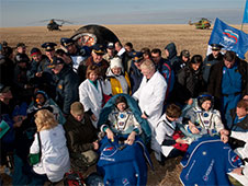 Expedition 20 Crew, Spaceflight Participant Land in Kazakhstan
