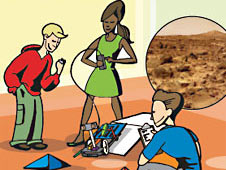 Cartoon drawing of three students controlling a small robotic rover