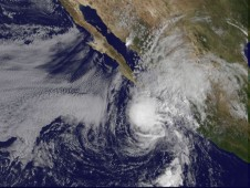 Tropical Storm Rick's clouds over the southern tip of Baja California at 7:30 a.m. PDT, October 20.
