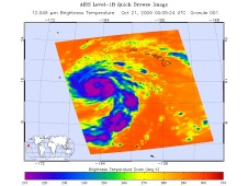 NASA's AIRS instrument captured Neki's high thunderstorm cloud temperatures (-63F) on October 21.