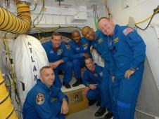 STS-129 crew in the White Room at the launch pad