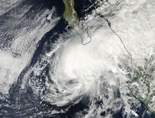 MODIS image of Tropical Storm Rick approaching Mexico on October 20 at 2050 UTC