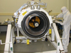 The science instrument on the Wide-field Infrared Survey Explorer, or WISE, is shown here with its aperture cover removed, during assembly at the Space Dynamics Laboratory in Logan, Utah.